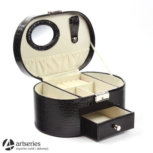 972aded9cc75f1 Skórzana szkatułka w kolorze czarnym na biżuterię 56850 kuferek ...