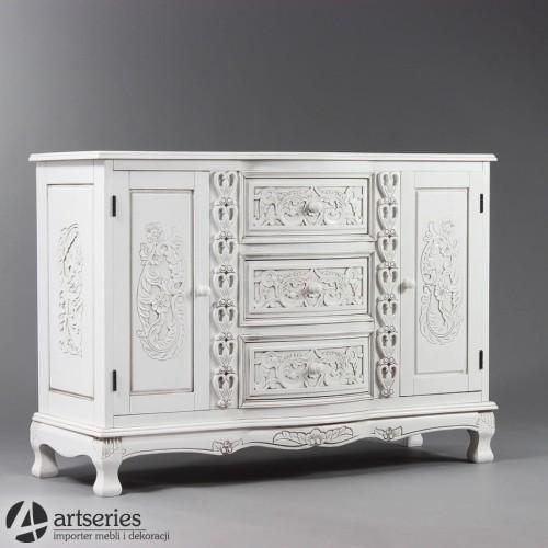 Biała Rzeźbiona Komoda Do Wnętrza Salonu Szafka 102183