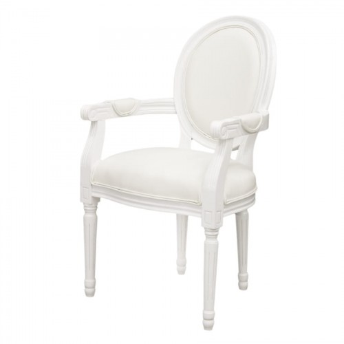 Biały Drewniany Fotel Krzesło Z Obiciem W Stylu Art Deco 119659