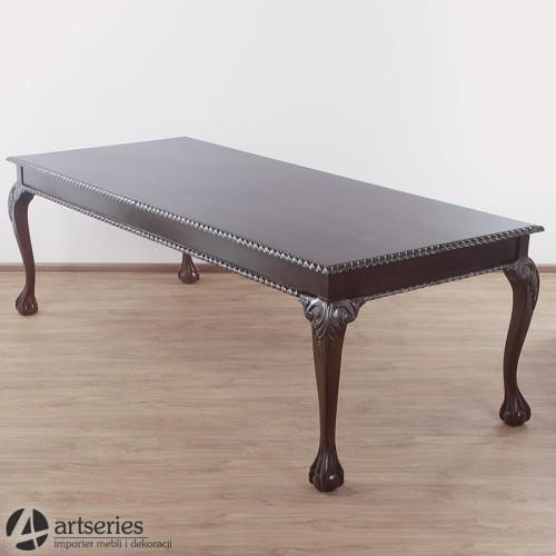 Ogromny Duży stół stylowy 240 cm z pełnego mahoniu do jadalni, biura XD21