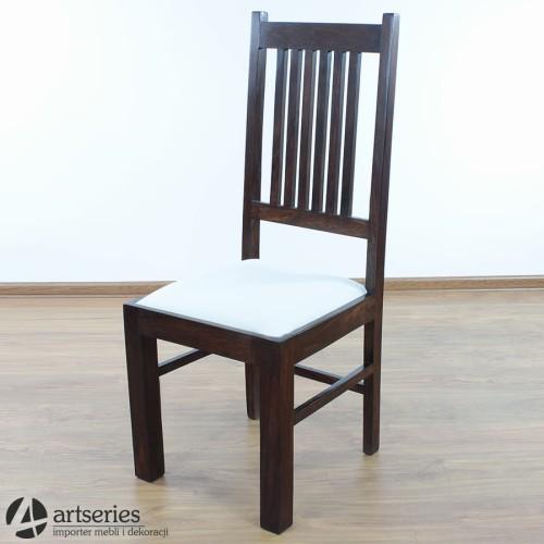 Stylowe Krzesło Kolonialne Z Białym Siedziskiem 69111