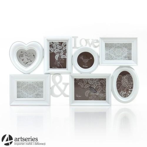 Biała Ramka Wisząca 4442970 łączona Na ścianę Z Akcentem Miłosnym Love