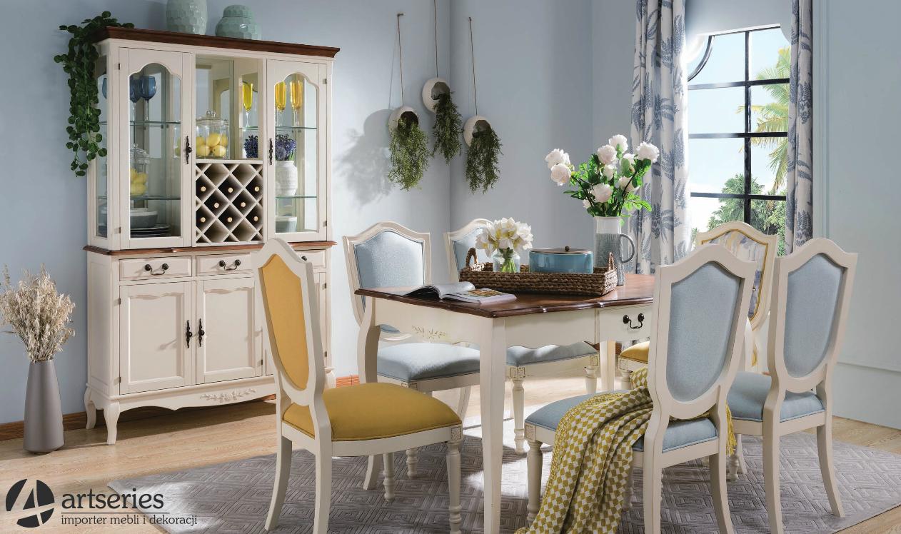 Kuchenne Meble Prowansalskie 120033 120024 Stół Z 6 Krzesłami Zestaw