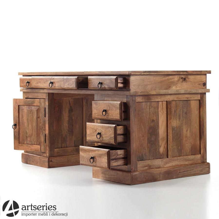 Ogromny Masywne biurko kolonialne do gabinetu 101399 - pełne drewno BA55