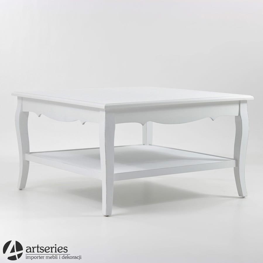 Stylowy Biały Stolik Kawowy Stół Kwadratowy 72308