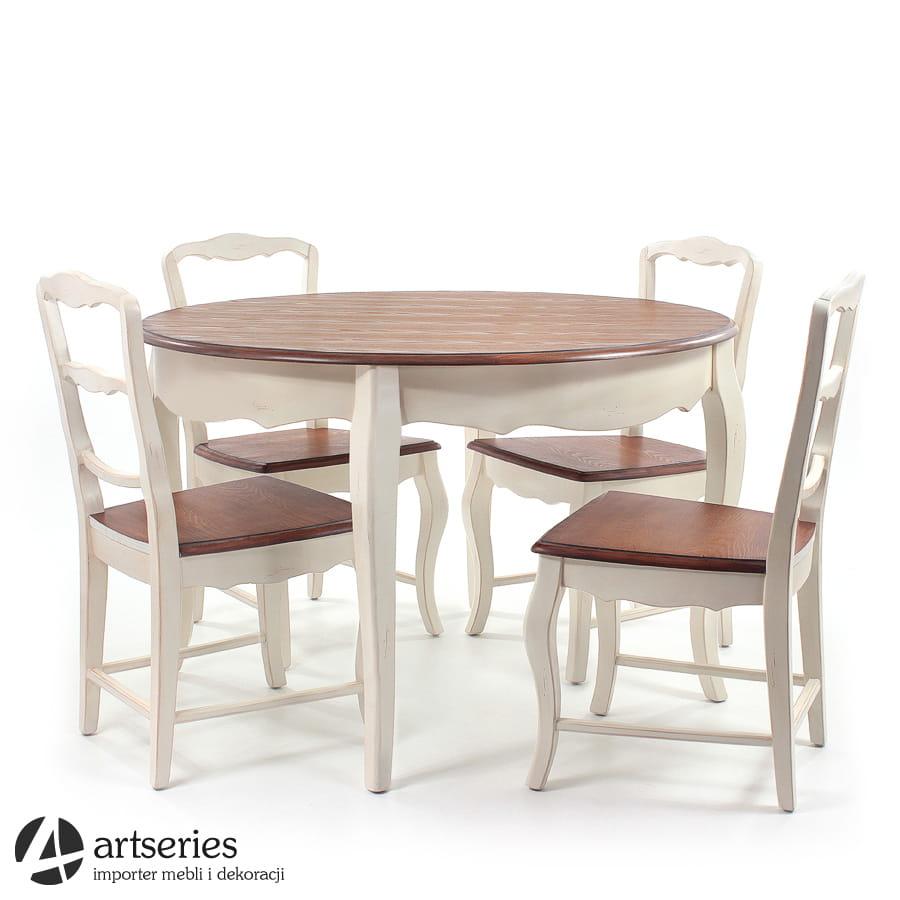Komplet Mebli Rustykalnych 120026 120024 Prowansalskich Stół Okrągły Z 4 Krzesłami