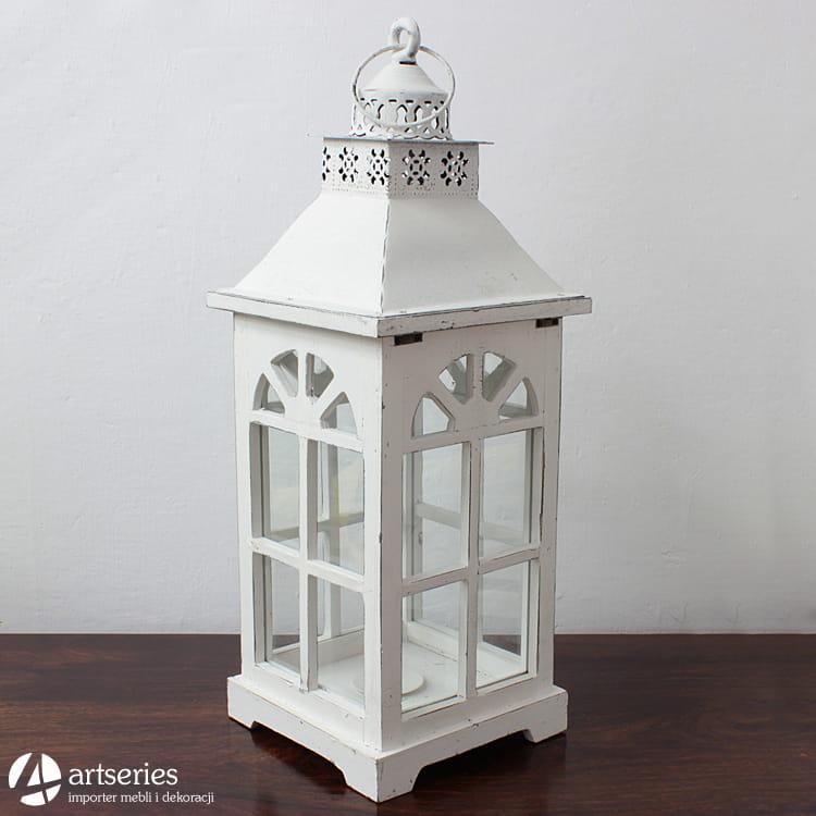 Biały Rustykalny Lampion Drewniany Z Metalowym Daszkiem 81626