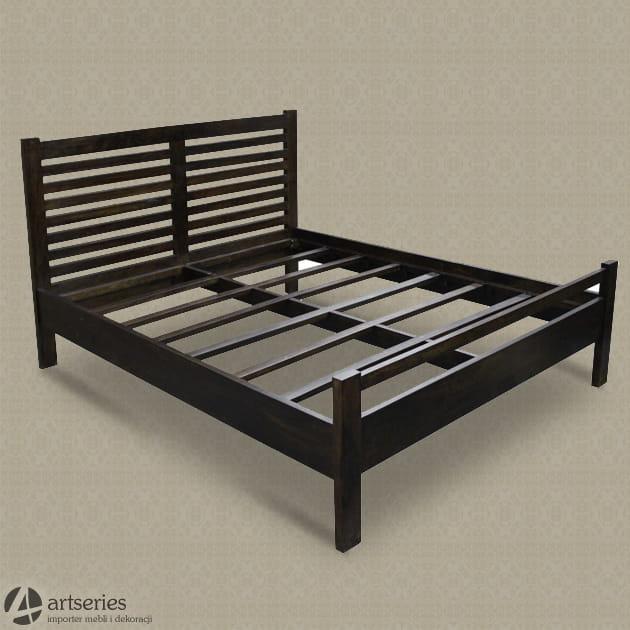 Drewniane Podwójne łóżko Kolonialne 75707 Stelaż Palisander