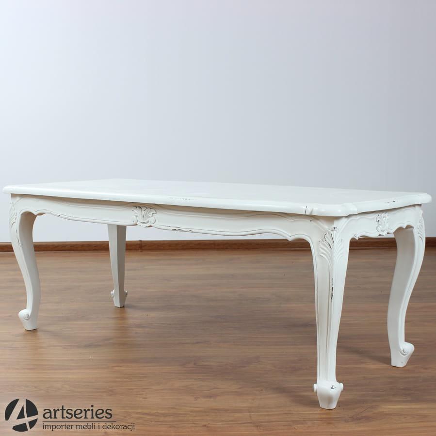 Bardzo dobra Drewniany, z drzewa mahoniu, biały stolik rzeźbiony z przetarciami NP13