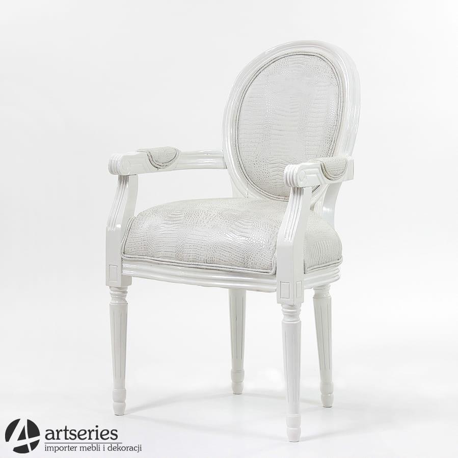 Stylowe Białe Krzesło Skórzane Art Deco 66235 Fotel Biel